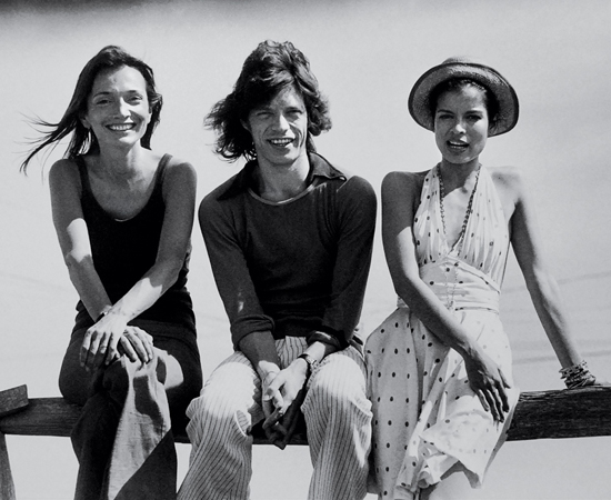 Lee Radziwill con Mick y Bianca Jagger
